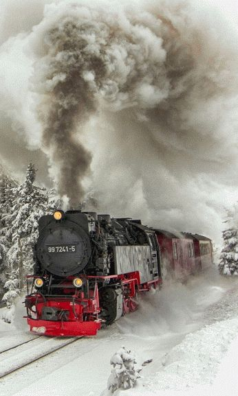 "1lifeinspired: "" chasingrainbowsforever: "" Colors ~ Black, White and Red "" Winter Steam Train """