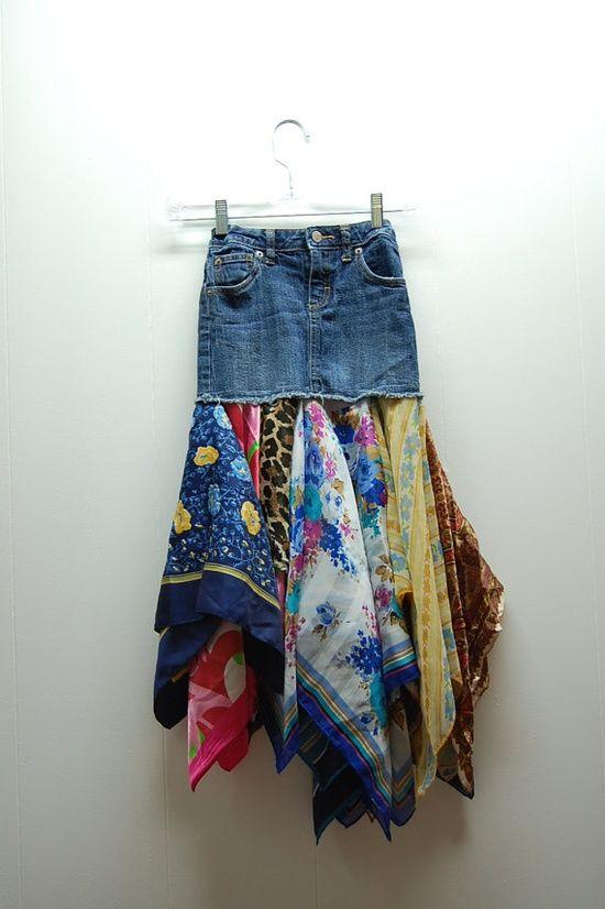 Gammel dongeribukse og gamle skjerf= morsom boho! denim,boho,hippie,upcycled clothing skirt