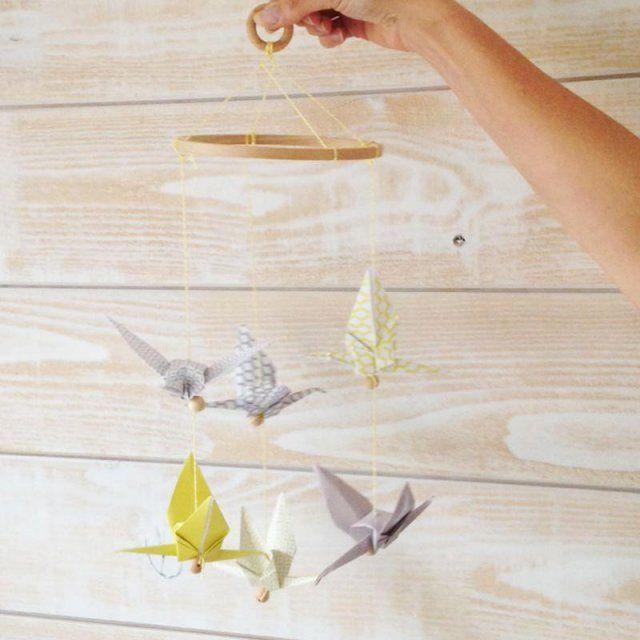 Mobile grues en origami / Origami birds mobile