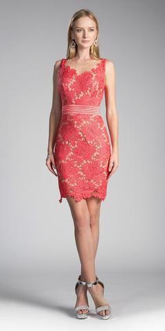 58c9dd044ea Cinderella Divine CF053 Sleeveless Lace Overlay Orange Cocktail Dress Short