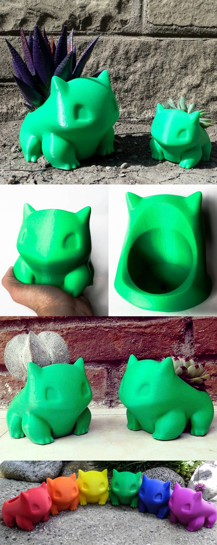 Help Bulbasaur evolve with the flower of your choice in these fantastic 3D-printed Pokemon planters. Bulbasaur will create the ideal companion as he sits on your desktop or window sill, where you can help and watch his bulb flourish. #pokemon #bulbasaur #kawaii