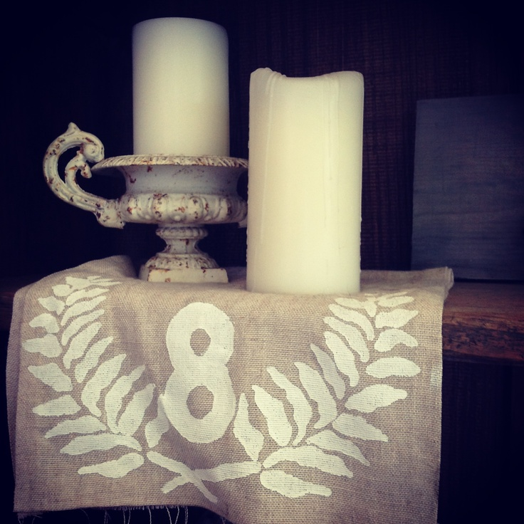 French table numbers perfect for wedding table runners  For hire @ chiltons antiques