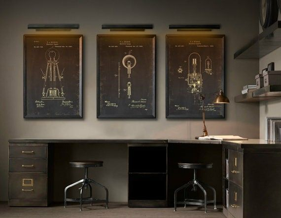 restoration hardware industrial patent prints