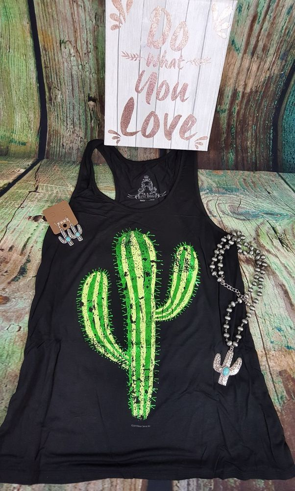COWGIRL gypsy CACTUS BOHO Tank Top Black Shirt Western SMALL #BEARDANCE #TANK