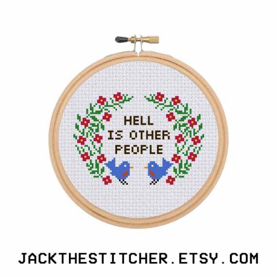 Hell is Other People Subversive Modern Cross Stitch Template Pattern Instant PDF Download by JackTheStitcher