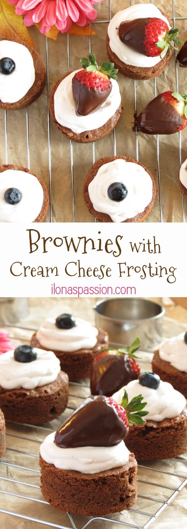 The Best Homemade Brownies with Strawberry Cream Cheese Frosting by http://ilonaspassion.com