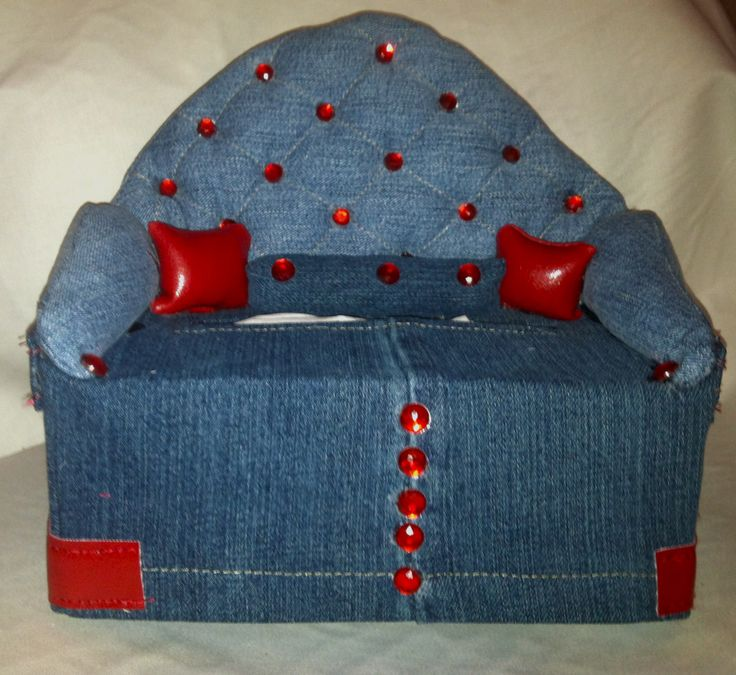 "Studded DenimTissue Box Couch TISSUE BOX COVERS that look like small couches with small pillows. They fit most standard 120/160 count tissue box Measuring approximate 9"" x 4 1/2"" x 3 1/4"" Perfect to dress up your home or office, dens, kids room, kitchen or bath. Great gift idea. Many different styles and fabrics. Most are ""one of a kind"" All are handmade with careful attention to details. Custom embroidery available These make great gifts...buy one for yourself and one for a friend."