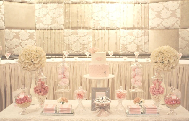 Baptism Dessert Table Island Pink And White Or Ivory
