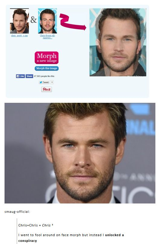 Chris Pratt plus Chris Evans equals Chris Hemsworth | Pass it on. | Thor is the love child of Star-Lord and Captain America