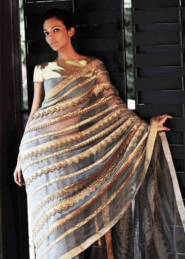 silver and gold metallic sari by Priyal Prakash