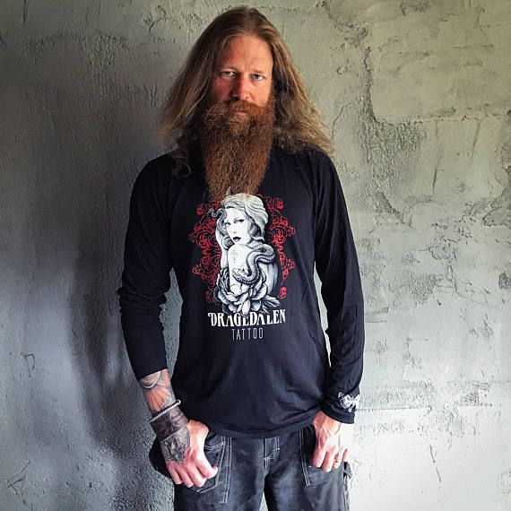 Birger is wearing our men's long sleeve Dragedalen Tattoo logo shirt. Limited Edition of only 20 each size made. Order yours on Etsy today. Enjoy!