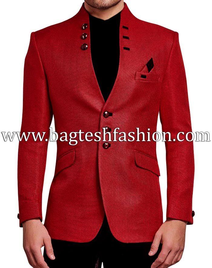 Designer Front Open Red Jute Jacket