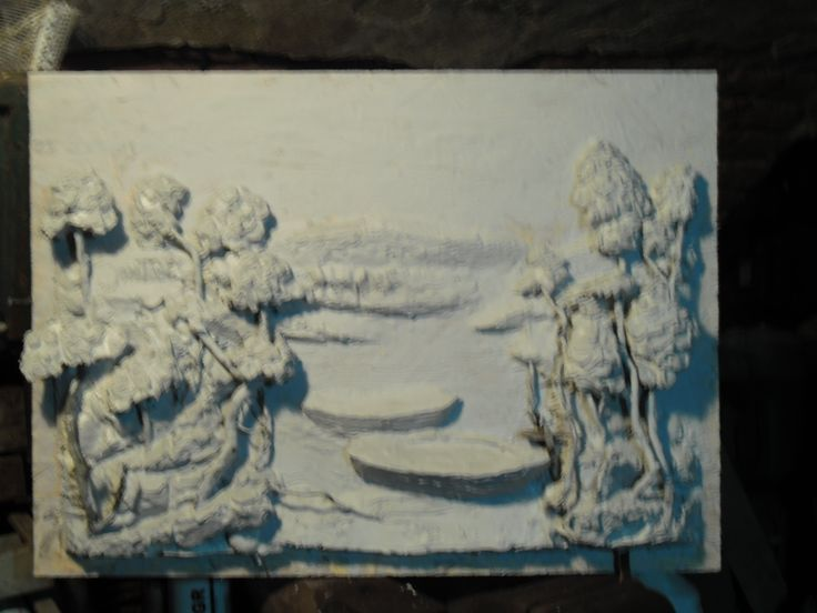 Another new piece in early stages. Just finished molding the relief.