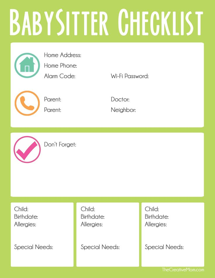Safety Checklist For Babysitters