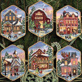Набор для вышивки крестом Dimensions 08785 Рождественские домики-орнаменты (6 шт)