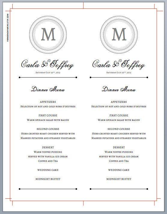 Boda plantilla imprimible boda cena menú, tarjetas de menú editables boda, plantilla imprimible, menú para imprimir | 1400  Al instante descargar y editar tu propia plantilla de menú de boda monograma con nuestros fácil de usar plantillas de Microsoft Word.  Este paquete incluye todo que lo necesario para editar e imprimir sus propios programas de la boda del monograma en el hogar. Muy bien hemos diseñado el programa para imprimir para imprimir dos en un 8,5 x 11 de la hoja y han incluido…