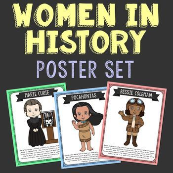 Women in History Poster Set. The women featured are Beverly Cleary, Billie Holiday, Helen Keller, Susan B. Anthony, Marie Curie, Betsy Ross, Pocahontas, Susan. B. Antony, Florence Nightingale, Queen Elizabeth I, Amelia Earhart, Joan of Arc, Rosa Parks, Cleopatra, Sacagawea, Emily Pankhurst, Mother Teresa, Marian Anderson, Harriet Tubman, Sojourner Truth, Bessie Coleman, Phillis Wheatley, and Sarah E. Goode.