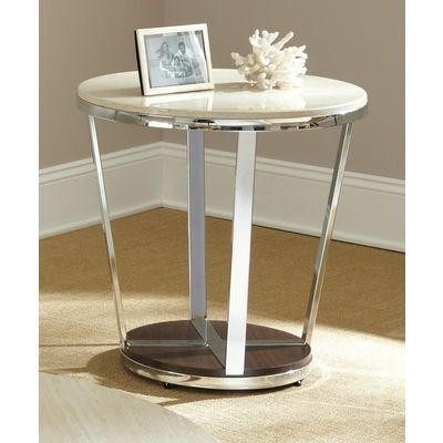 Steve Silver Bosco 24 Inch Round Faux Marble End Table