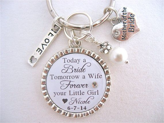 Mother Of The Bride Gift Groom Bridal Jewelry Quote Wedding White Damask Man My Dreams Charm Necklace Keychain