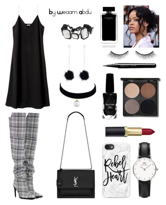 """B/W"" by weaam-abdu on Polyvore featuring Off-White, Casetify, Daniel Wellington, Yves Saint Laurent, AMBUSH, Azature and Narciso Rodriguez"