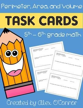 Math Task Cards (Perimeter, Area, and Volume) for 5th-6th grade math! This unit focuses entirely on finding areas, volumes, and surface areas. Each task card includes 2-4 math problems for a specific concept (26 total problems). Includes finding perimeters, areas of parallelograms, areas of triangles, areas of trapezoids, areas of circles, volume/surface area of rectangular prisms, and more!