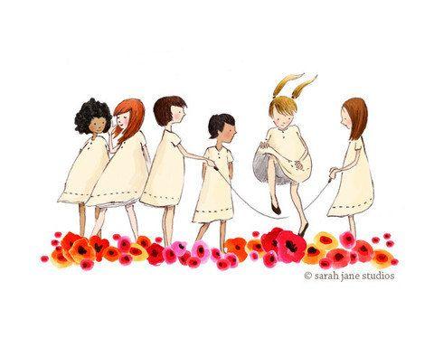 Children's Wall Art Print Poppies Kids door sarahjanestudios