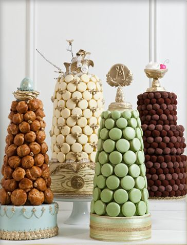 Macaron, Truffle, Croquembouche Towers. Perfect for a classy party!