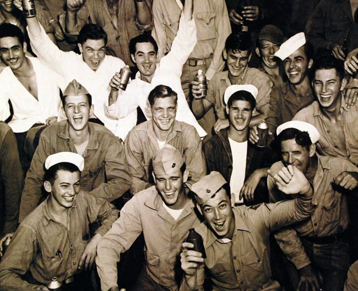 Victory celebration CINCPAC headquarters Guam 15 August 1945.
