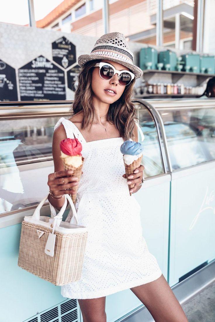 Vacation White :: 3 White Staples You Need this Summer - white eyelet mini dress + prada bag