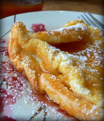 German Pancakes  6 eggs  1 c milk  1 c flour  1/2 t salt  2 T butter, melted  Combine eggs, milk, flour and salt in a blender; cover and process until smooth. Pour the butter into an ungreased 13-in. x 9-in. x 2-in. baking dish; add the batter. Bake, uncovered, at 400 for 20 minutes. (Fun to watch bake, it puffs up then sinks as it sits to cut. Sprinkle with powdered sugar. ( so good made 1/08/13)