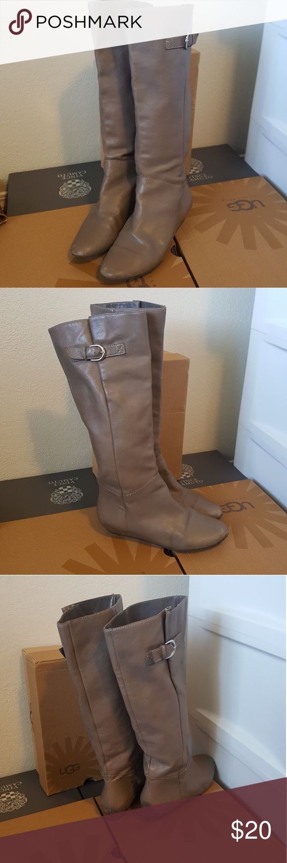 Steve madden gray intyce boots Knee riding boots Size 7 or 7 1/2 Leather needs some care on usual areas otherwise excellent condition. Steve Madden Shoes Heeled Boots