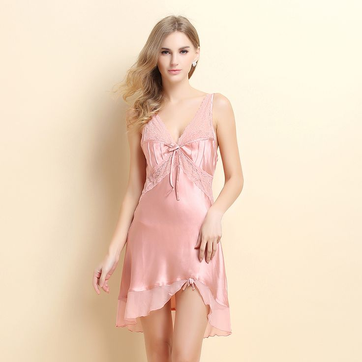 2015 new summer silk nightgown female temptation sexy lace pajamas 100% silk nightdress home service USD$69.53