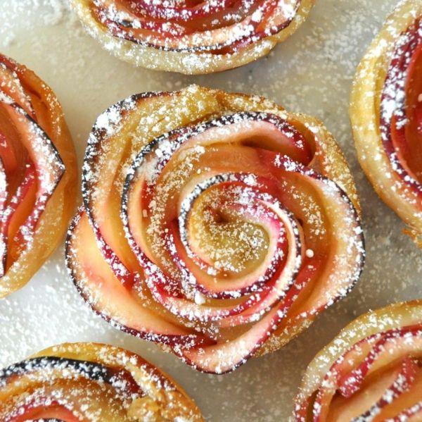 apfel muffins stückchen puderzucker rosen