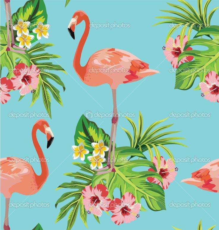 Фламинго, тропическими цветами и пальмовыми листьями бесшовный фон - Векторная картинка: 47237911
