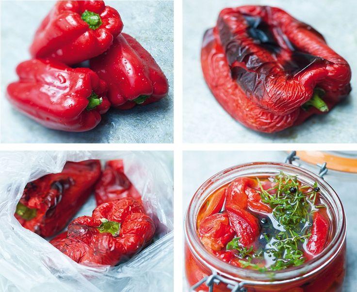 Recette de poivrons grillés marinés à l'huile d'olive