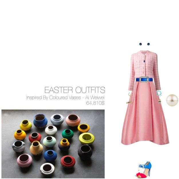 64,810$ Easter #MostExpensiveOutfit Inspired by Coloured Vases, 2012 – Ai Weiwei ft. @m_lhuillier @chanel @louboutinworld @lanvin @sydneyevan @tiffanyandco @rogervivier