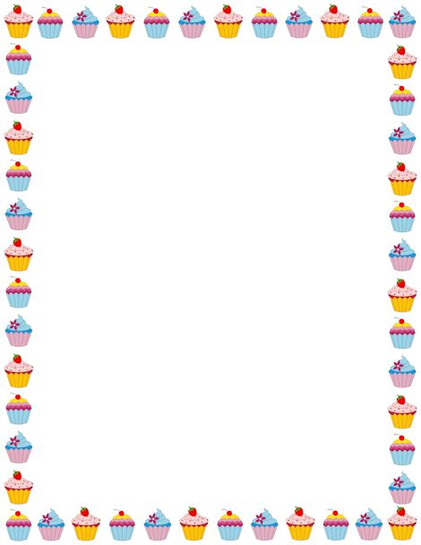 Cupcake page border. Free downloads at http://pageborders.org/download/cupcake-border/