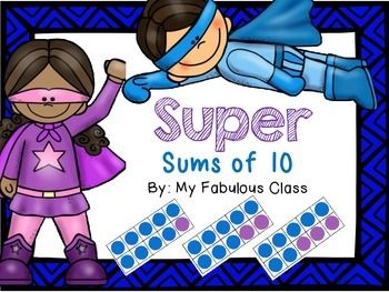 Here's a set of superhero themed cards for playing two different games on ways to make ten.