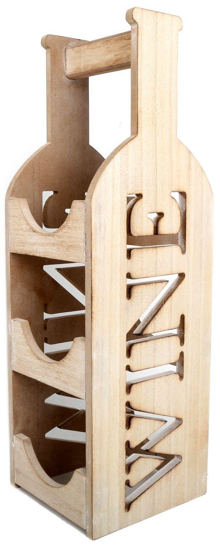 Shabby Chic Triple Wooden Bottle Wine Holder: Amazon.co.uk: Kitchen & Home
