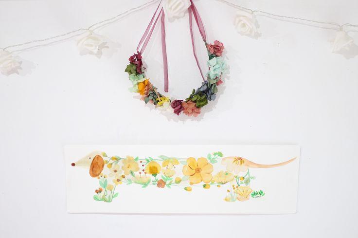 Lámina teckel flores www.tintoandco.com
