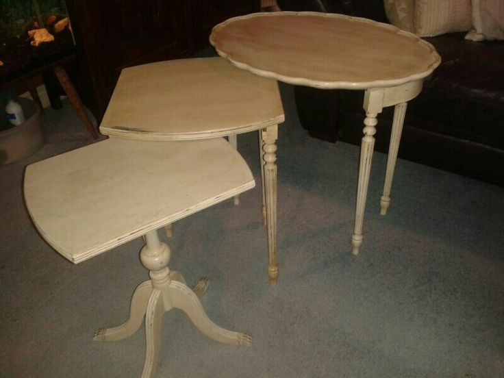 Nest of three tables painted, distressed and waxed.