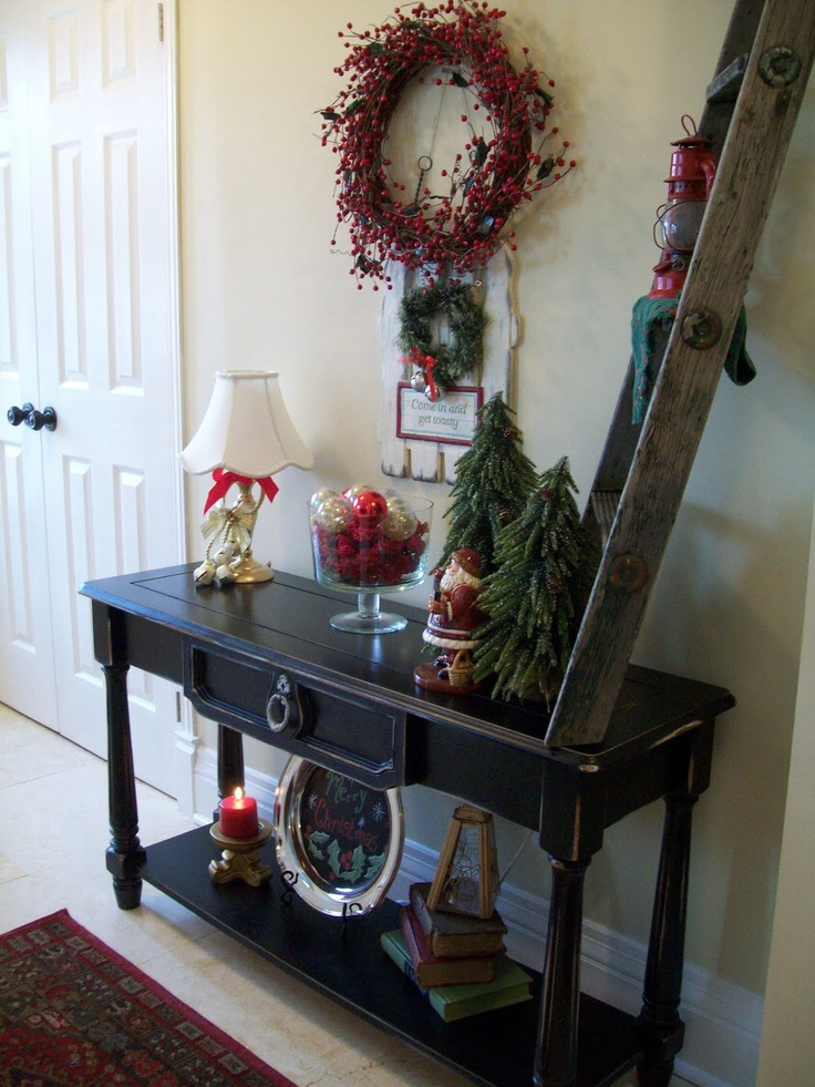 Foyer Table Decor Christmas : Best images about mantle or consol table decor on