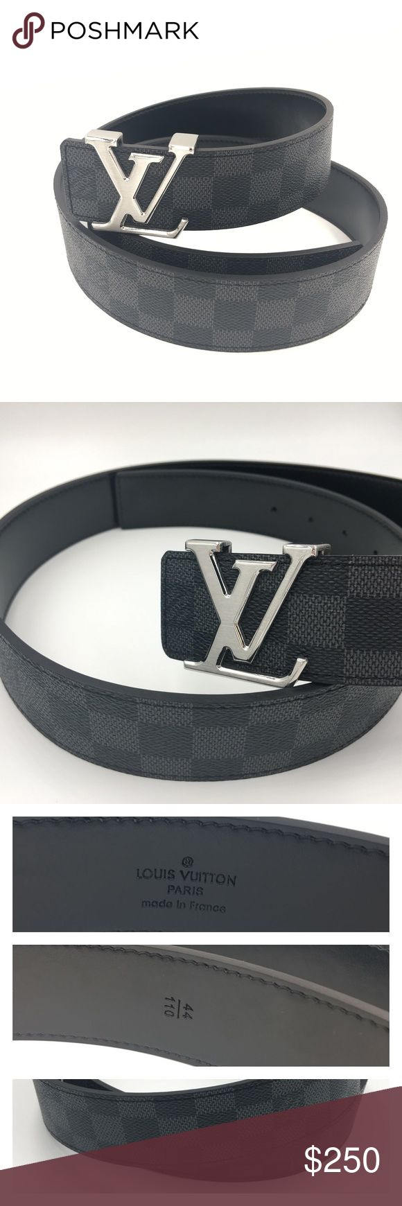 "Louis Vuitton Damier Belt 44/110 LV Initial Men's 110cm long (43""),  width of 44mm ( 1.7"") . Damier canvas.  Fine genuine leather with clear print. High quality piece. 99% real. Louis Vuitton Accessories Belts"
