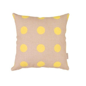 100% Linen cushion cover - GONE DOTTY in yellow