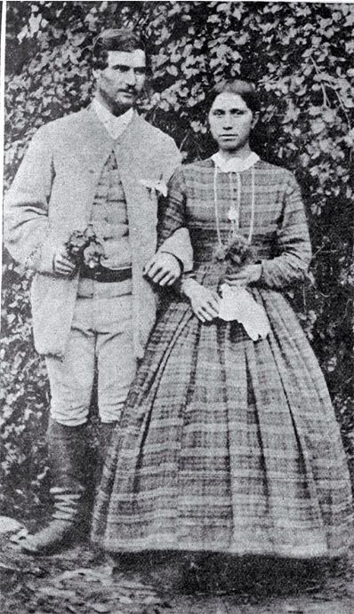 """First Christian wedding  [184-?]  """"This old photograph, which has been handed down from the early days of New Zealand, shows the first Maori couple to be married in the Christian church """""""