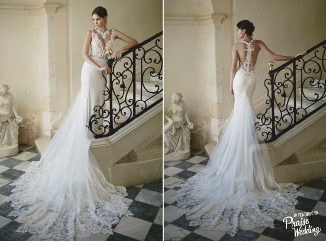 Stunning Alon Livne wedding dress with breath taking lace details and charming silhouette!