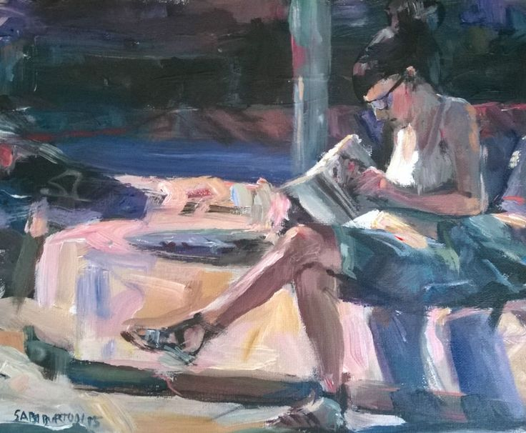 Original Painting, collected artist Samuel Burton city girl reading in the sun