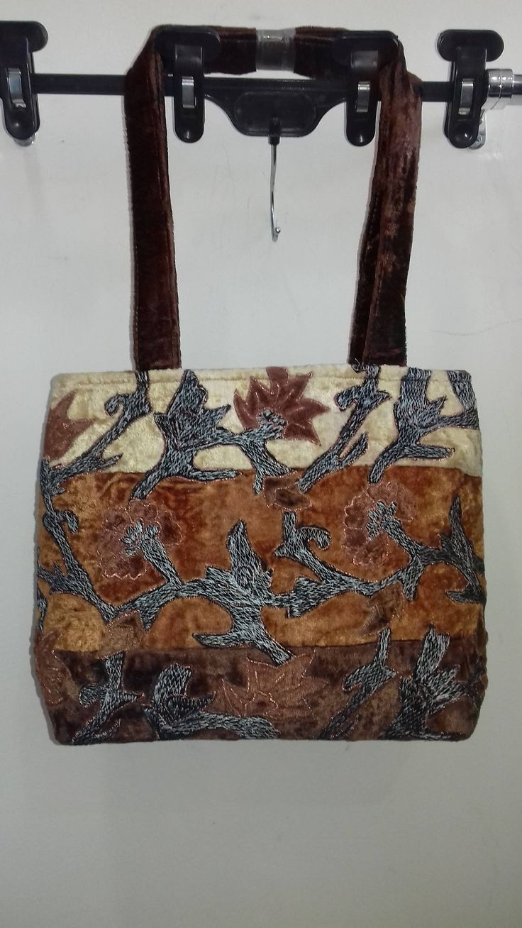Vintage Embroidery Handbag Velvet Multicolor & Brown by AlternativeByGeorge on Etsy