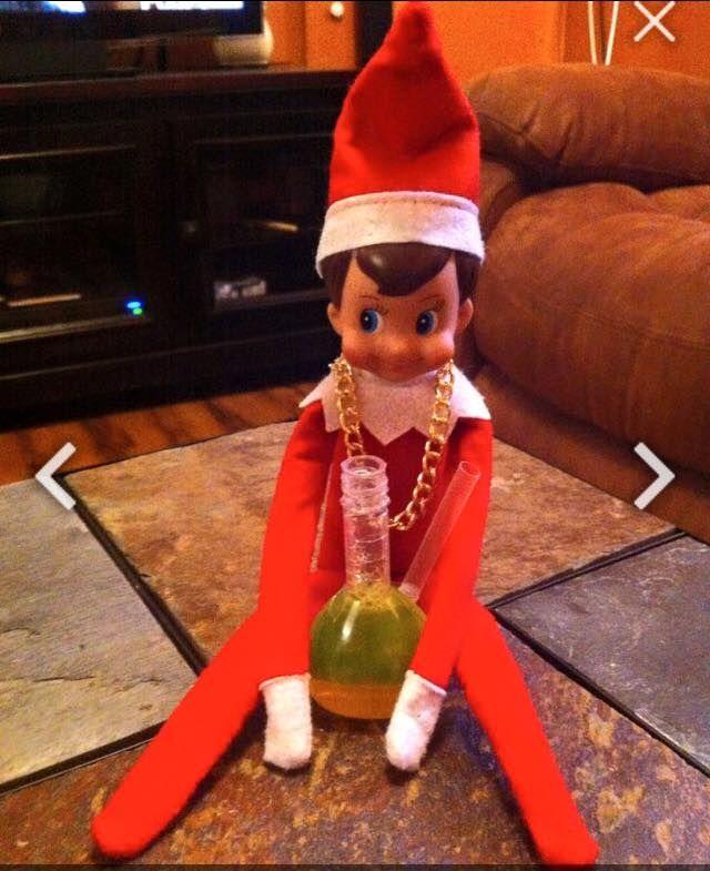 Elf On The Shelf Hitting The Bong Pot Head Elf Elf On