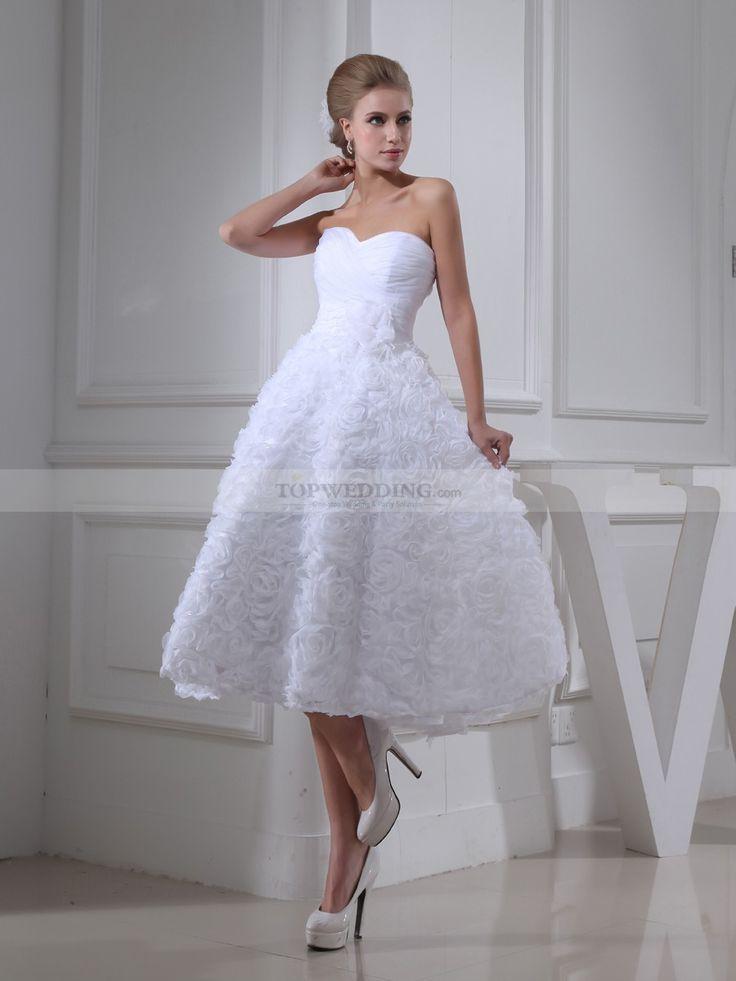Tea Length Strapless Organza Bridal Dress with Allover Rosette Skirt